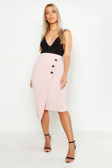 Rose Plus Wrap Button Down Bodycon Skirt