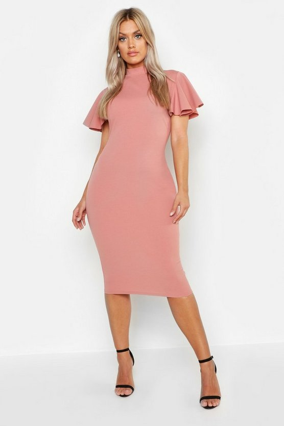 Plus High Neck Frill Sleeve Midi Dress by Boohoo