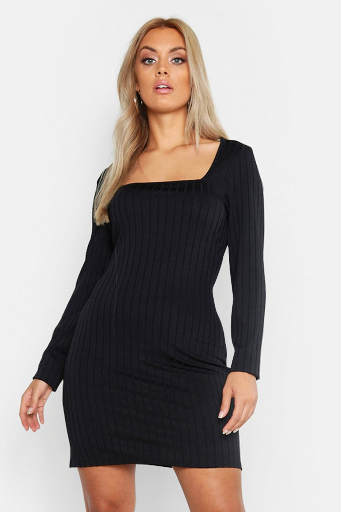 Plus Ribbed Long Sleeve Square Neck Bodycon Dress by Boohoo