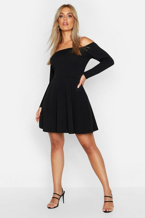 Womens Black Plus Long Sleeve Off The Shoulder Skater Dress