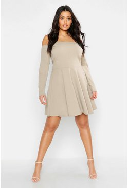 Womens Slate Plus Long Sleeve Off The Shoulder Skater Dress