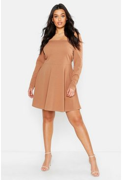 Womens Toffee Plus Long Sleeve Off The Shoulder Skater Dress