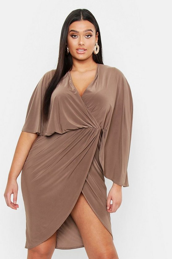 Plus Slinky Knot Detail Wrap Midi Dress