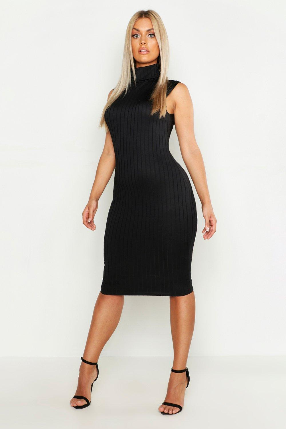 3619e96642e4 Womens Black Plus Ribbed High Neck Sleevless Midi Dress. Hover to zoom