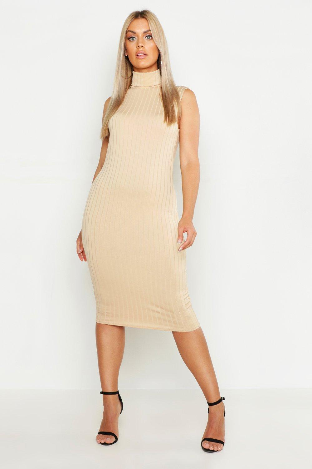 6355fd1ed8fa Womens Taupe Plus Ribbed High Neck Sleevless Midi Dress. Hover to zoom