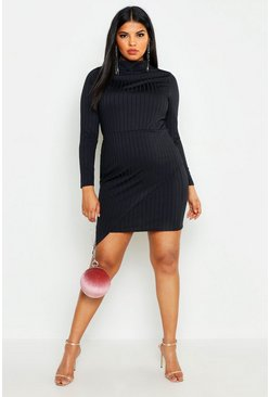 Womens Black Plus Ribbed High Neck Wrap Skirt Midi Dress