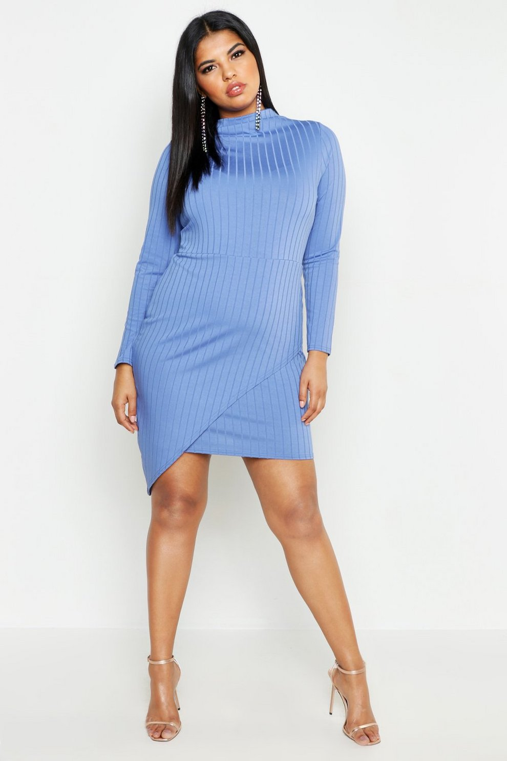 c9e5b9b2797b Plus Ribbed High Neck Wrap Skirt Midi Dress | Boohoo