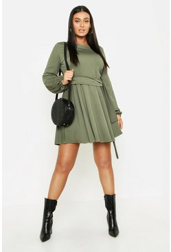 Womens Khaki Plus Crepe Tie Waist Skater Dress