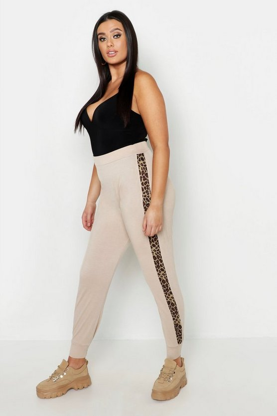Womens Sand Plus Leopard Side Stripe Joggers