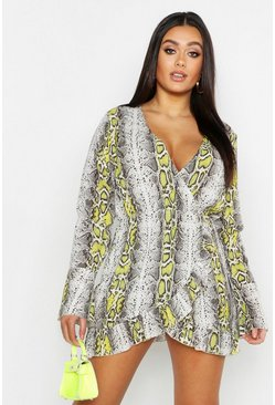 Womens Grey Plus Snake Ruffle Wrap Dress