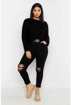 Plus Oversized Rib Cuff Soft Knit Jumper, Black, ЖЕНСКОЕ