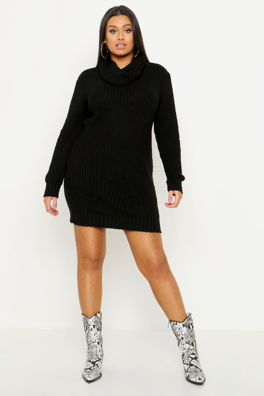 Plus Oversized Cowl Neck Jumper Dress