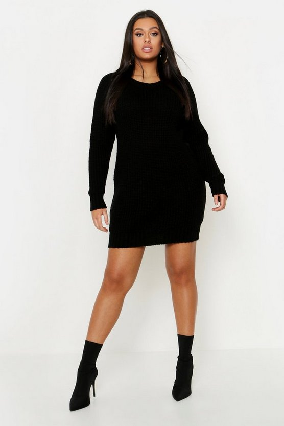 Womens Black Plus Soft Knit Sweater Dress