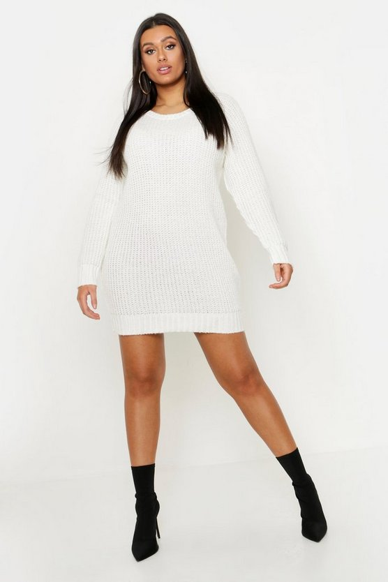 Womens Ivory Plus Soft Knit Sweater Dress