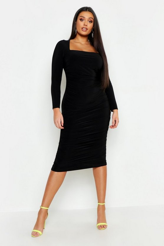 Plus SLinky Ruched Square Neck Midi Dress
