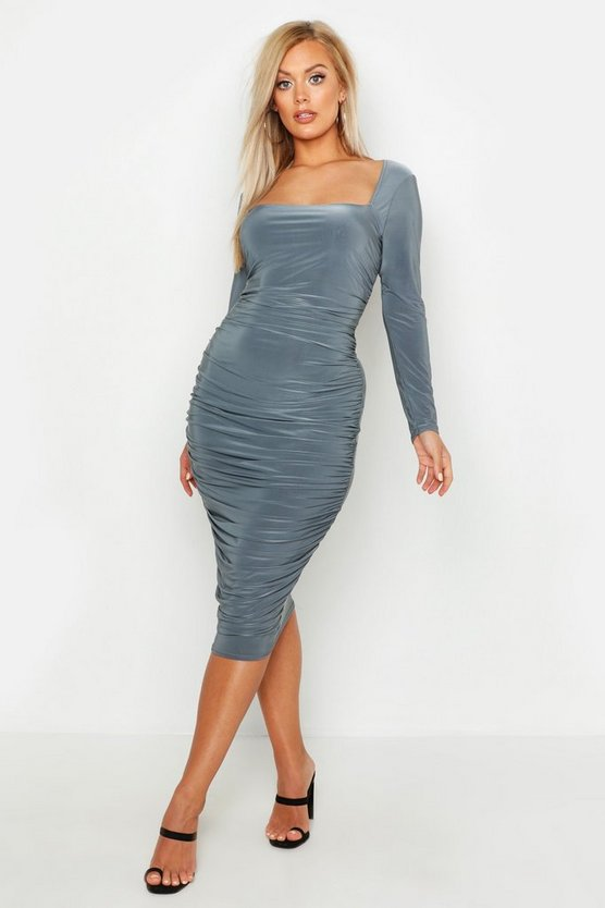 Womens Charcoal Plus SLinky Ruched Square Neck Midi Dress