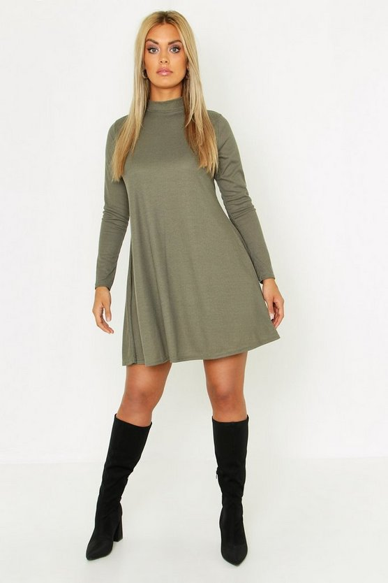 Womens Khaki Plus Rib High Neck Swing Dress