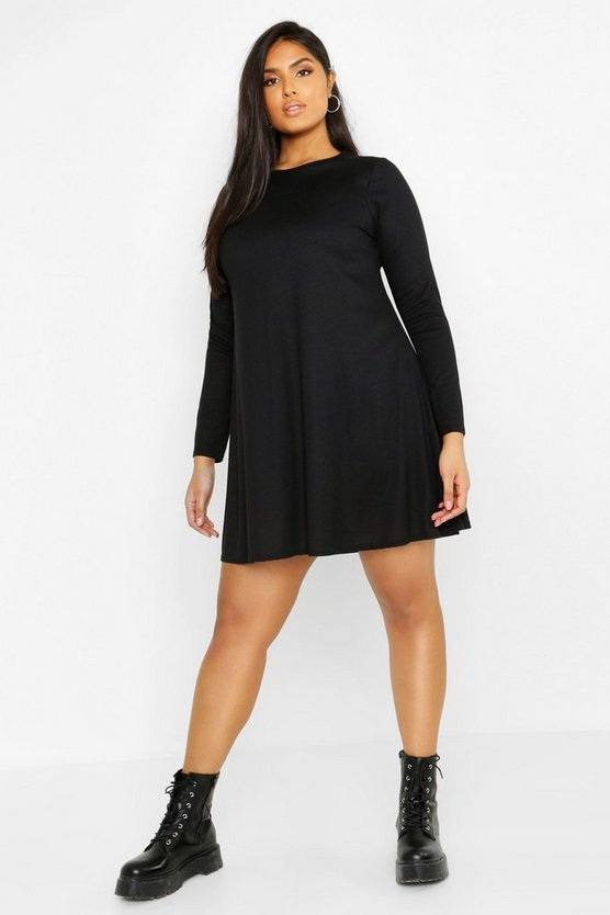 Womens Black Plus Rib Swing Long Sleeve Dress