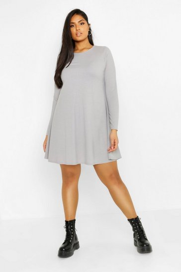 Womens Grey Plus Rib Swing Long Sleeve Dress