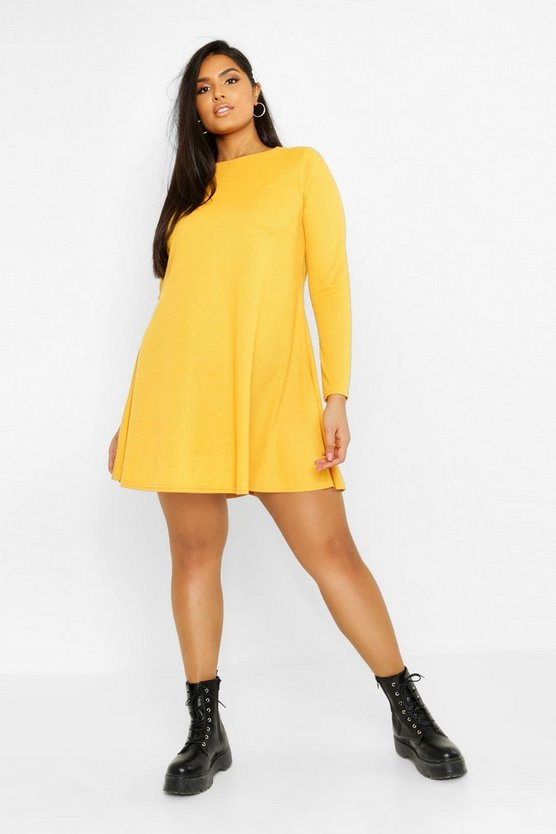 Womens Mustard Plus Rib Swing Long Sleeve Dress