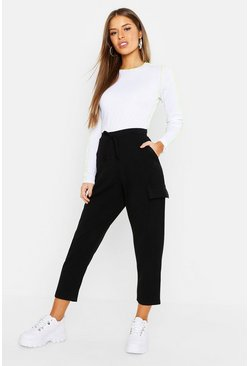 Womens Black Petite Pocket Tapered Cargo Trouser