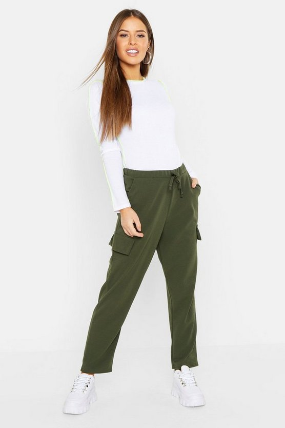 Womens Khaki Petite Pocket Tapered Cargo Trouser