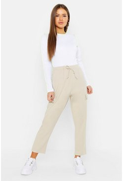 Womens Stone Petite Pocket Tapered Cargo Trouser