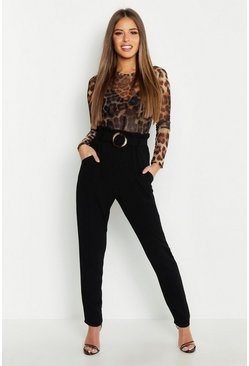 Womens Black Petite Buckle Detail High Waisted Pants