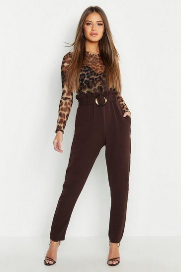 Womens Chocolate Petite Buckle Detail High Waisted Trouser