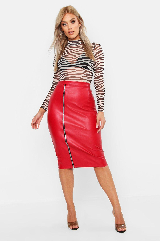 Plus PU Zip Detail Midi Skirt