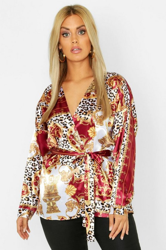 Plus Woven Chain Leopard Print Blouse by Boohoo