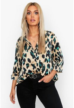 Plus Satin Leopard Shirt, Black, ЖЕНСКОЕ