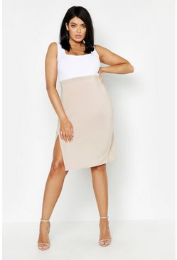 Womens Stone Plus Slinky Split Midi Skirt