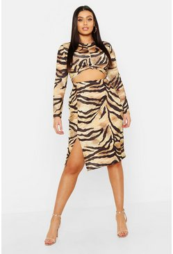 Womens Gold Plus Slinky Tiger Print Split Midi Skirt