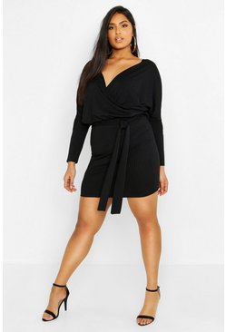 Womens Black Plus Rib Kimono Sleeve Belted Dress