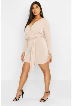 Womens Taupe Plus Rib Kimono Sleeve Belted Dress