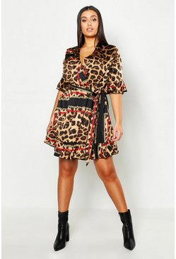 Womens Brown Plus Animal Chain Print Skater Dress