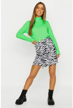 Womens Multi Petite Zebra Print Mini Skirt