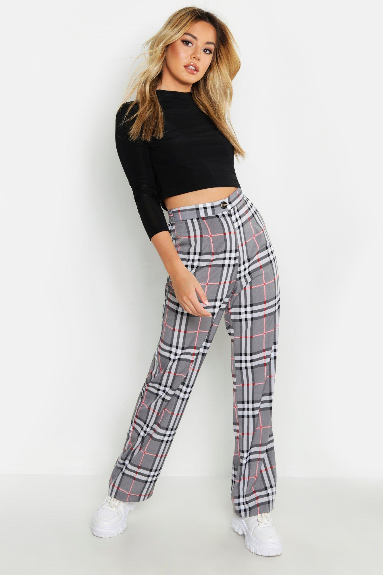 Petite Check Tapered Trousers
