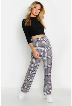 Womens Grey Petite Check Tapered Trousers