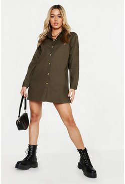 Womens Khaki Petite Oversized Utility Shirt Dress