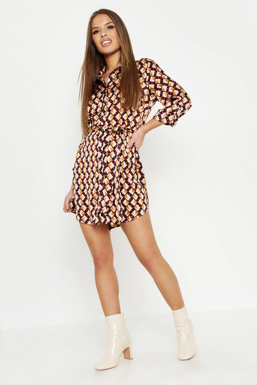 Petite Geo Print Shirt Dress