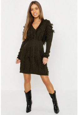 Womens Khaki Petite Fringe Plunge Knitted Dress