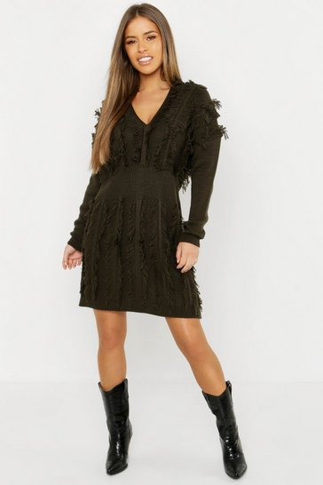 Womens Petite Fringe Plunge Knitted Dress