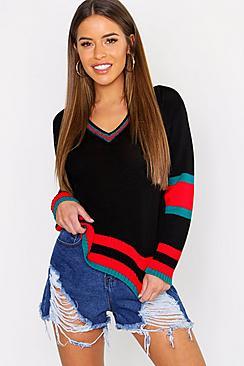 Petite Stripe Sleeve V Neck Oversized Sweater