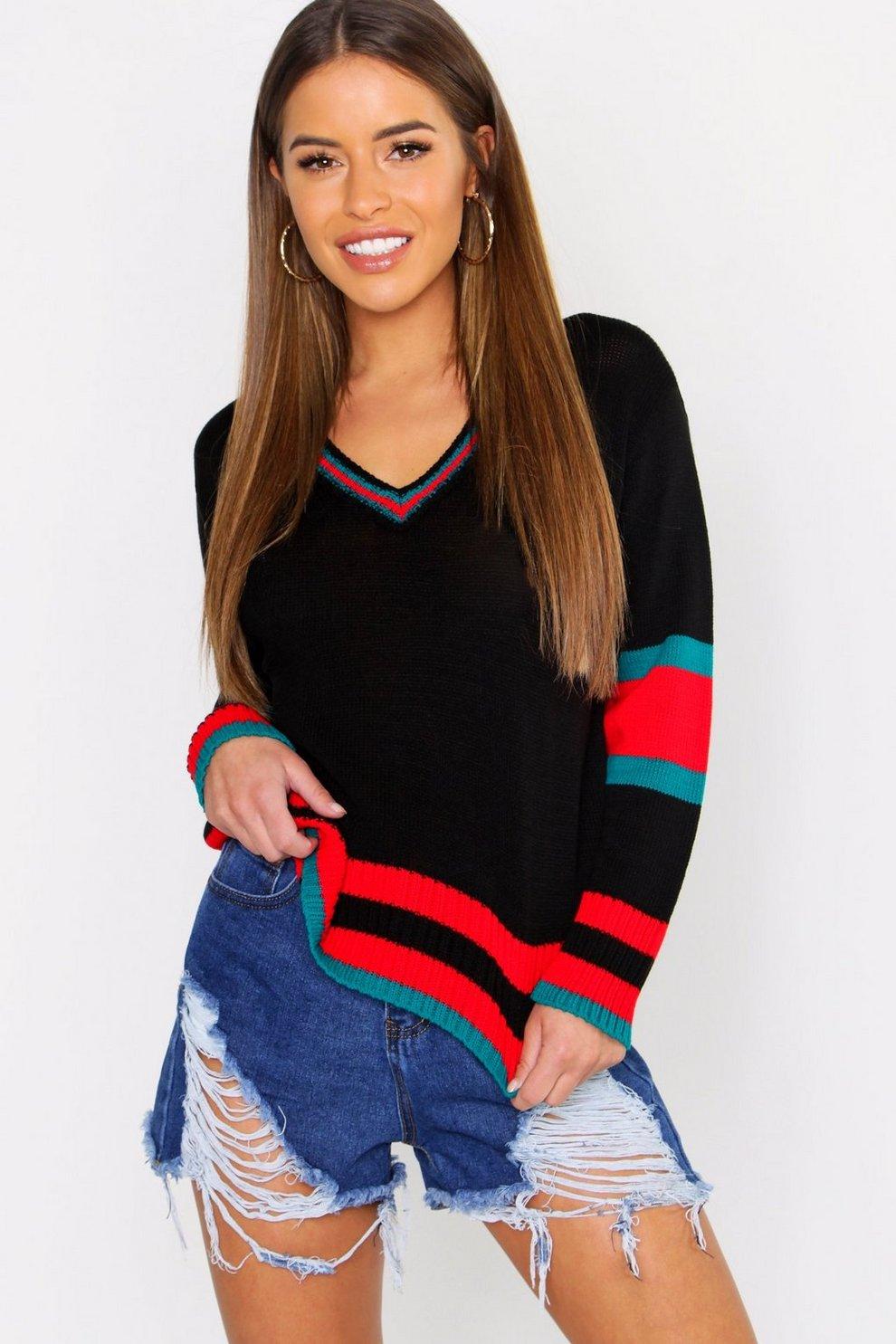 Petite Stripe Sleeve V Neck Oversized Sweater  717034f35