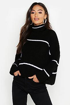 Petite Stripe Roll Neck Oversized Sweater
