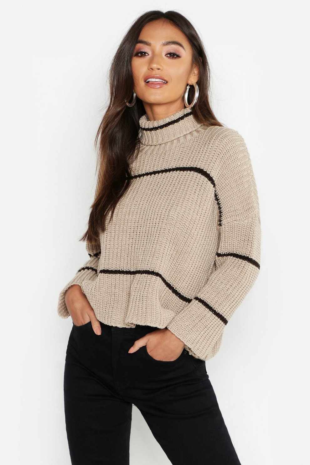 ca9ac8713bd8 Jersey oversized rayas con cuello vuelto Petite, Gris piedra, Mujer