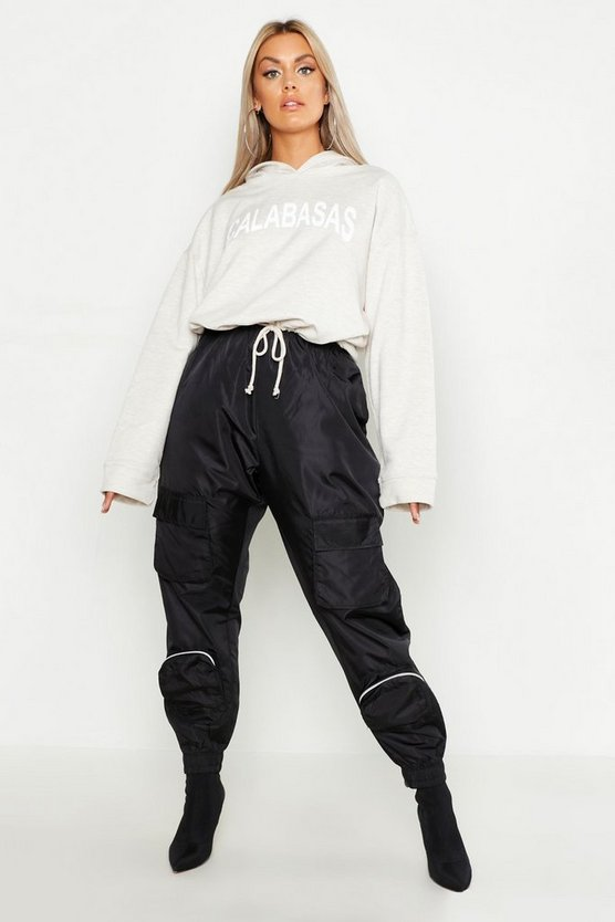 Womens Black Plus Pocket Detail Shell Jogger