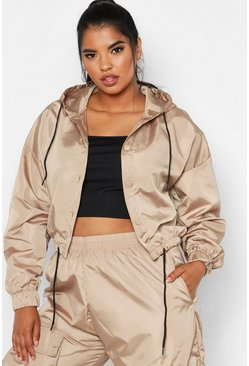 Womens Camel Plus Shell Crop Windbreaker